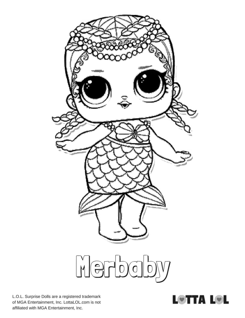 merbaby lol surprise doll coloring page