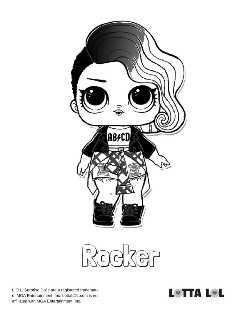 Rocker LOL Surprise Doll Coloring Page | Lotta LOL