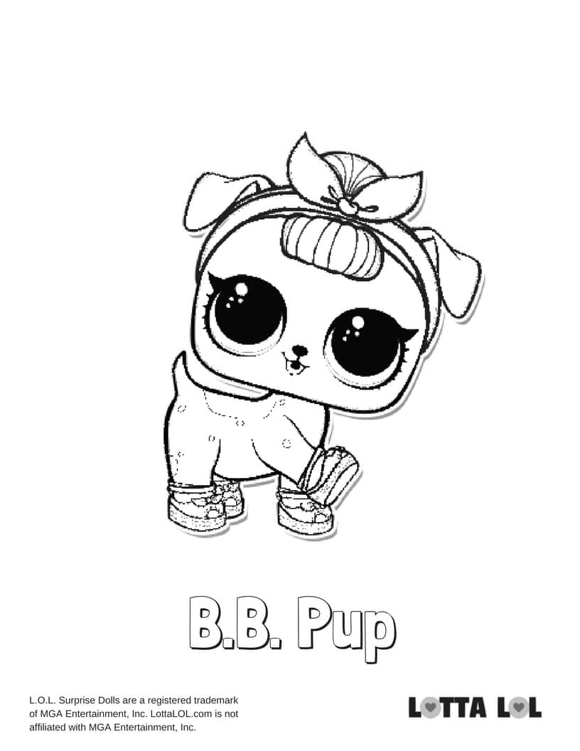 BB Pup LOL Surprise Doll Coloring Page Lotta LOL