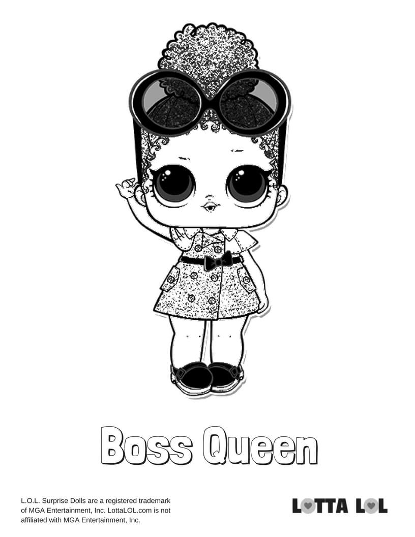 Boss Queen LOL Surprise Doll Coloring Page Lotta LOL