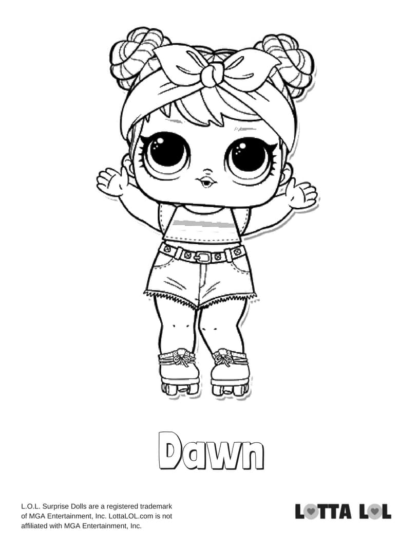dawn coloring pages | Dawn LOL Surprise Doll Coloring Page | Lotta LOL