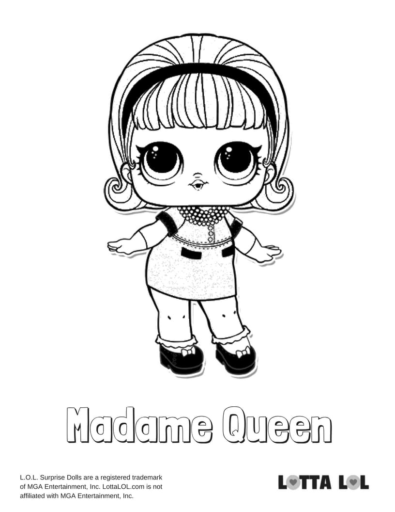 Madame Queen LOL Surprise Doll Coloring Page | Lotta LOL