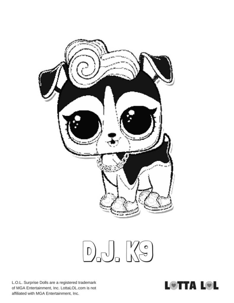 DJ K9 LOL Surprise Doll Coloring