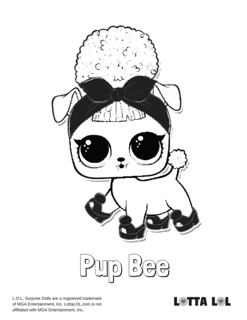 pup bee lol surprise doll coloring page