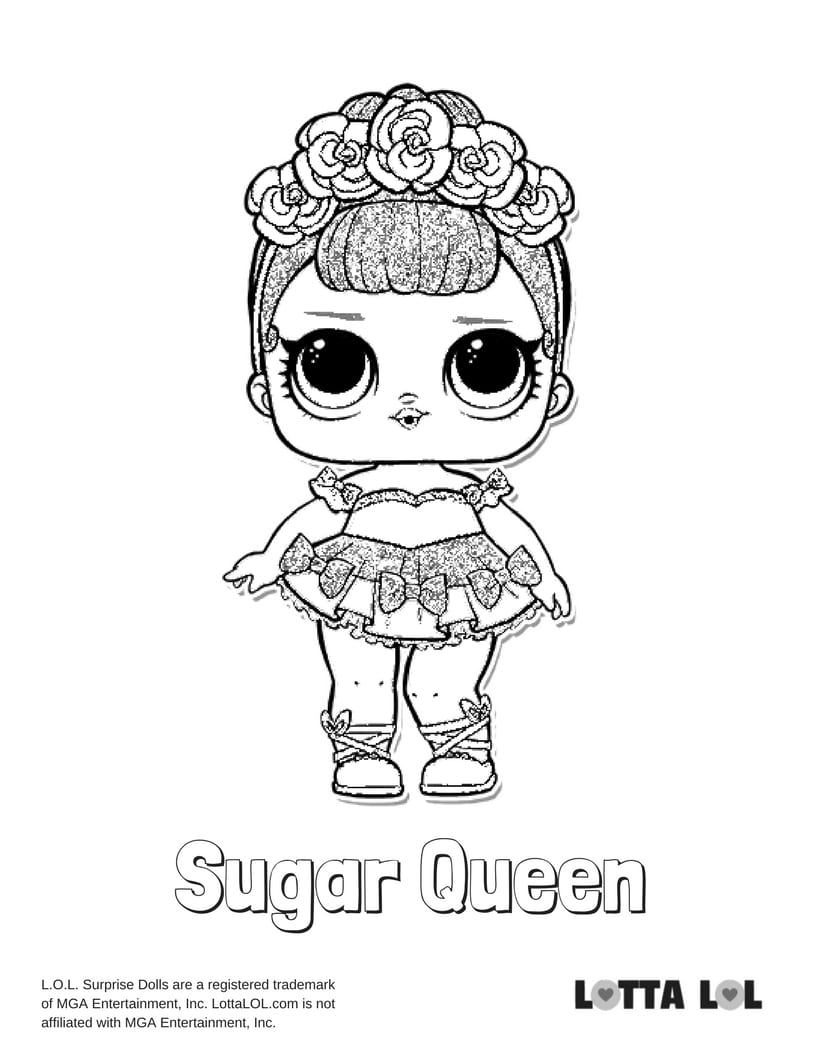 Sugar Queen LOL Surprise Doll Coloring Page Lotta LOL