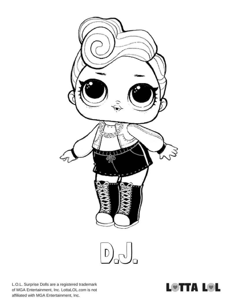 DJ LOL Surprise Doll Coloring Page Lotta LOL
