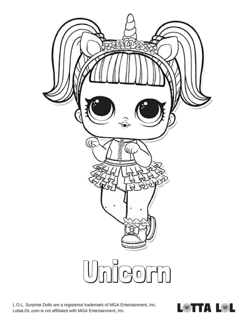 Unicorn LOL Surprise Doll Coloring Page Lotta LOL